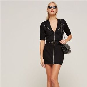 Reformation Black Zip mini Dress Size 4